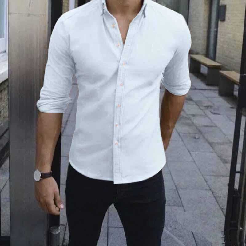 Men's Elegant Long Sleeve Plain Shirts