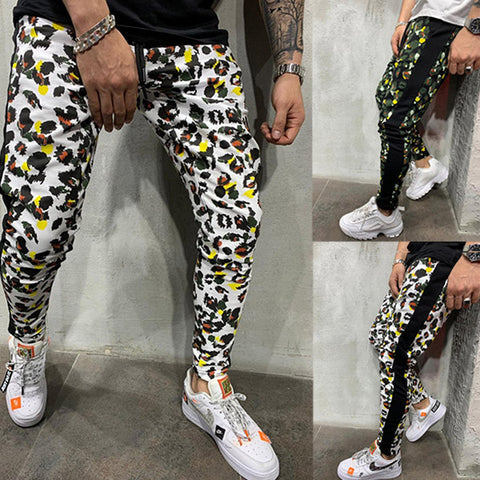 Men Casual Printed Sports Pants Slim Fit Fashion Pants
