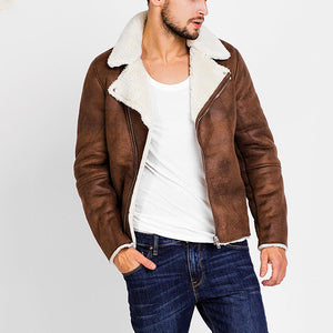 Mens Fashion Zipper Pure Color Plush Lining Short Jackets