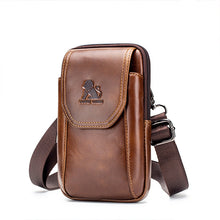 Load image into Gallery viewer, Men Waist Purse Bag Genuine Leather Vintage Travel Cell Phone Waist Bag