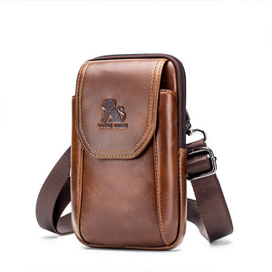 Men Waist Purse Bag Genuine Leather Vintage Travel Cell Phone Waist Bag