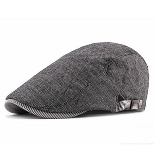 Mens Solid Color Peaked Cap Fashion Adjustable Beret Cap
