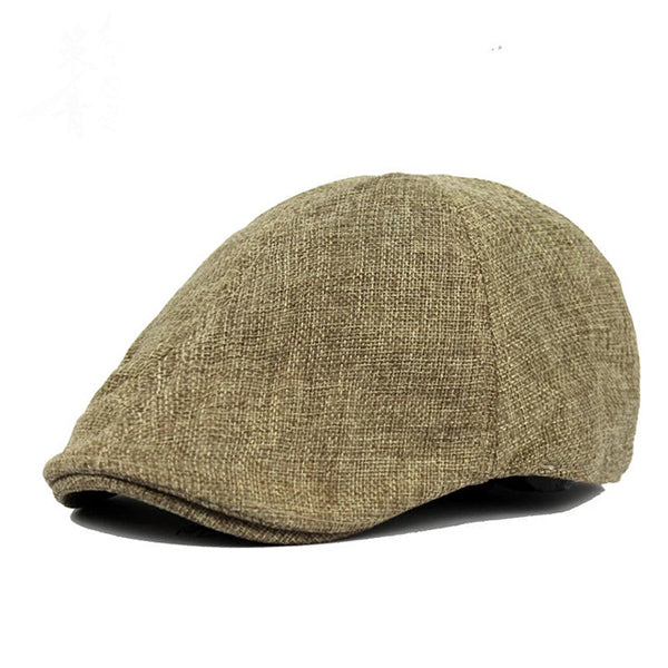 Mens Retro British Style Solid Breathable Leisure Beret Cap