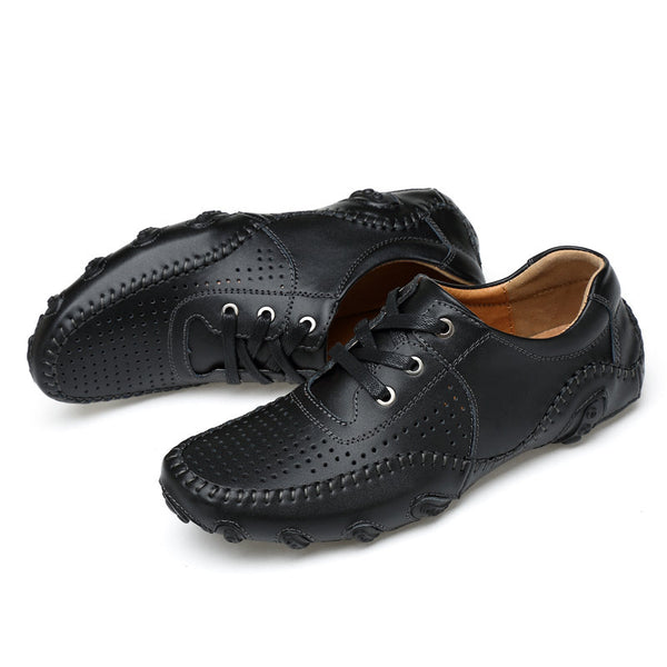 Mens Hollow Out Breathable Soft Sole Lace Up Driving Shoes
