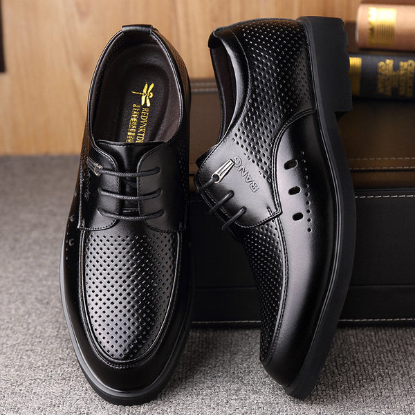 Mens Hollow Out Breathable Comfy Lace Up Business Casual Formal Shoes