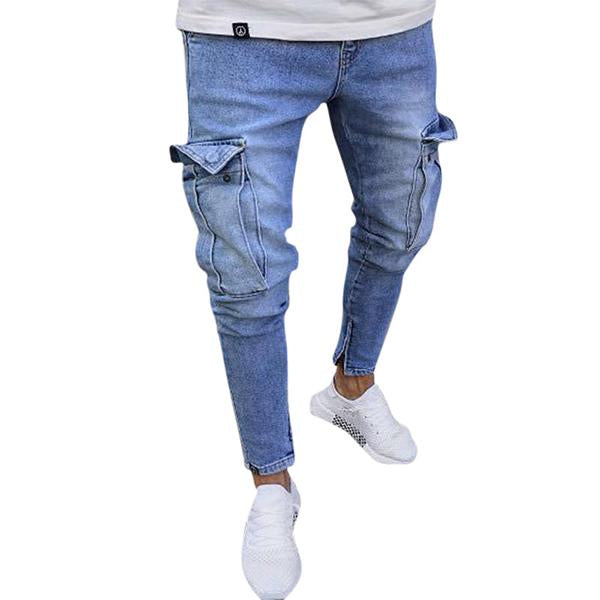 Men's Casual Multi Pockets Ripped Jeans Denim Pants