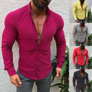 Fashion Mens Casual Solid Color Linen T Shirts