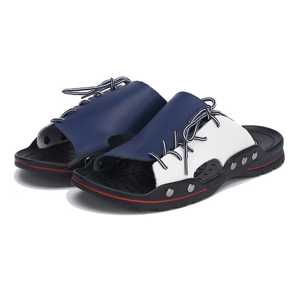 Mens Large Size Casual Color Block Beach Sandals Summer Slippers
