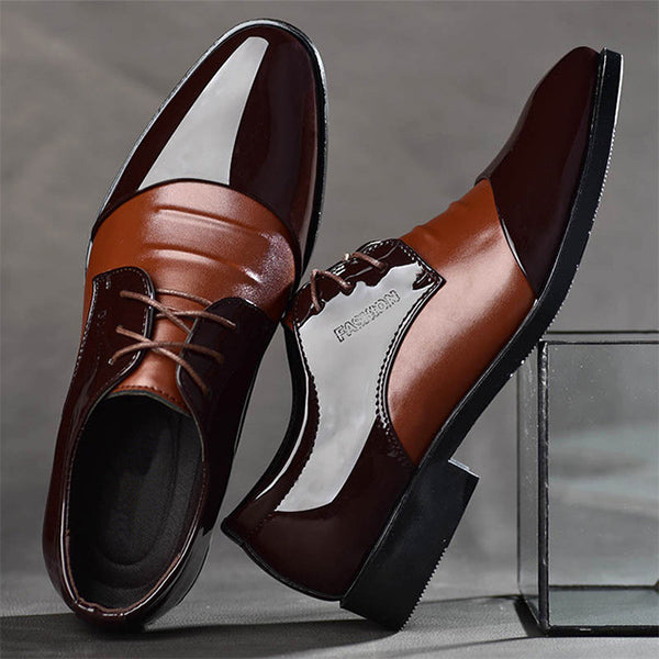 Mens Lace-up Pointed Toe Wedding Shoes Business Formal Shoes