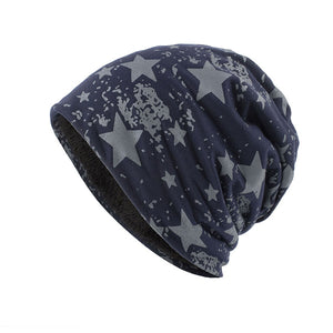 Unisex Winter Warm Soft Skull Knitting Cap Plush Lining Star Printed Beanies