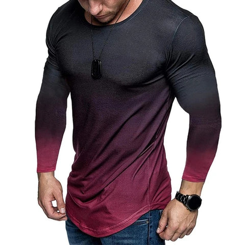 Gradient Round-neck Long Sleeve Sports Gym Shirts