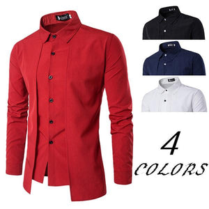 Fake Two Pieces Brief Solid Color Business Banquet Wearing Shirts