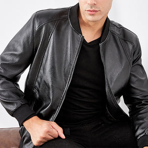 Mens Baseball Motorcycle Soft Leather Jacket