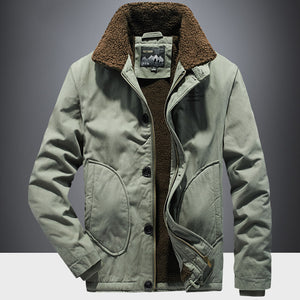 Men Plush Lapel Warm Long Sleeve Coats Cargo Jacket