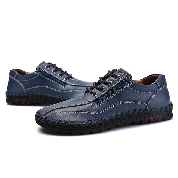 Large Size Men Hand Stitching Side Zipper Casual Shoes