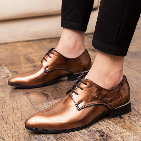 Mens Large Size Pointed Toe Lace Up Formal Shoes