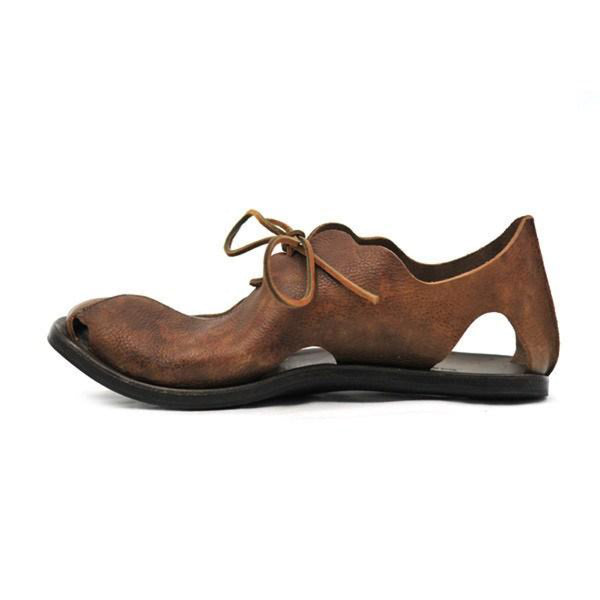 Mens Vintage Summer Lace Up Hollow Out Sandals