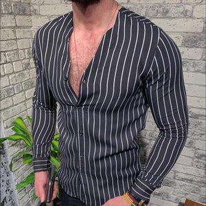 Casual Stand Collar Striped Button Shirts