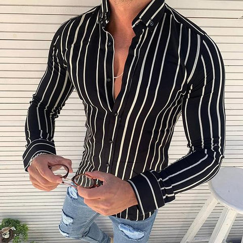 Men's Printed Long-sleeved Striped Shirt