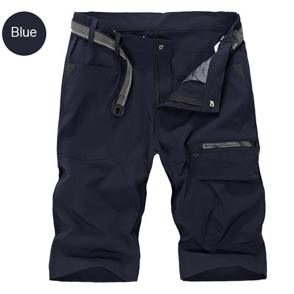 Mens Military Outdoor Cargo Shorts Summer Zipper Casual Short Pants