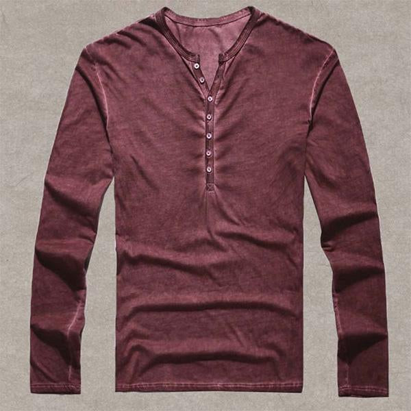 Men's Casual Long Sleeve Cotton Vintage T Shirt Pullover