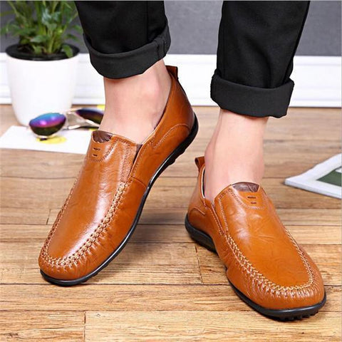 Men Genuine Leather British Style Soft Slip On Business Shoes