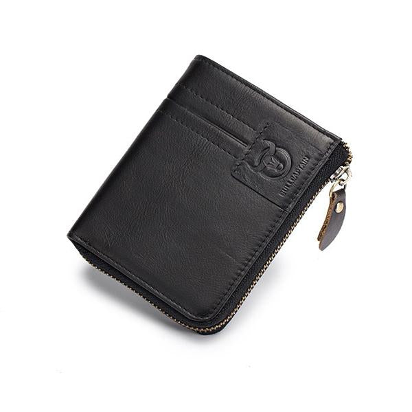 Genuine Leather 9 Card Slots 1 Coin Bag Zipper Wallet