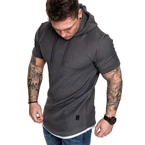 Mens Casual Hoodied Short Sleeve Sports T-Shirts