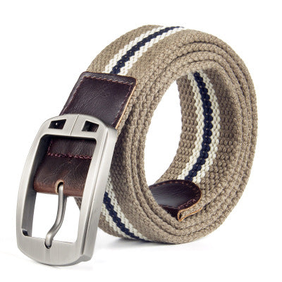 Men's Alloy Head Stripe Canvas Belt