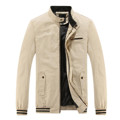 High Quality Casual Men Solid Stand Collar Jacket