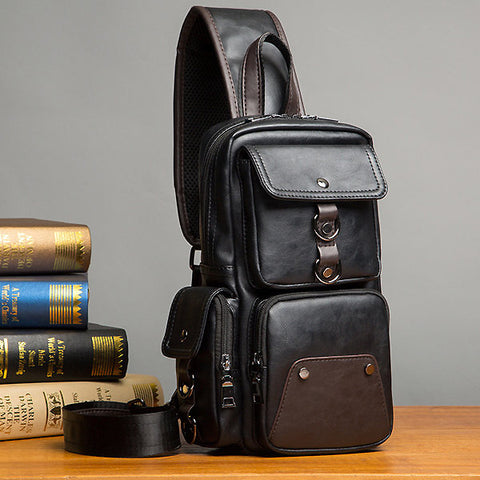 Mens Big Capacity Chest Bag PU Leather Crossbody Bag
