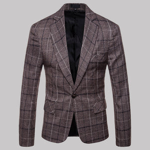 Men's New Plaid One Button Casual Suit