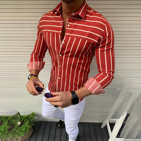 Mens Stripe Print Long Sleeve Casual Top Shirts