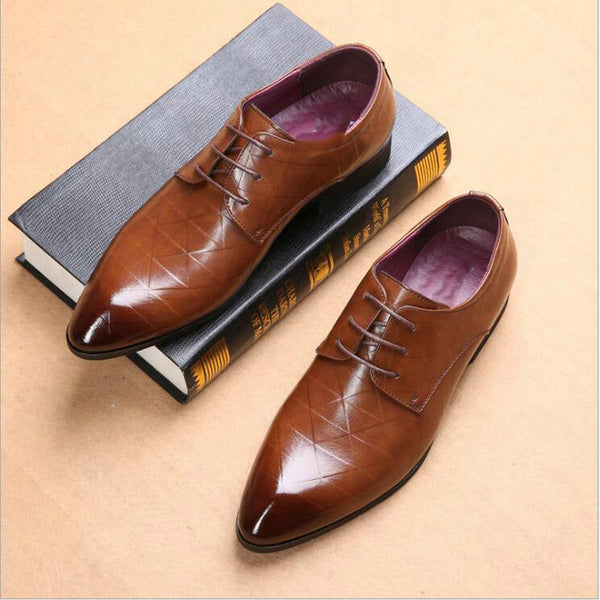 Mens Pointed Toe Lace-up British Style Casual Business Shoes