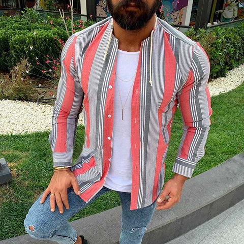 Mens Stripe Casual Slim Fit Fashion Shirts