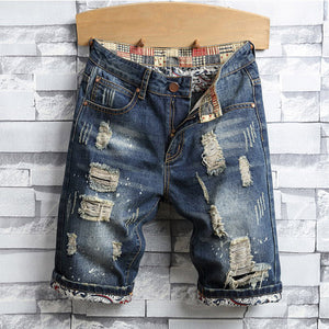 Mens Fashion Ripped Short Jeans Personality Denim Shorts