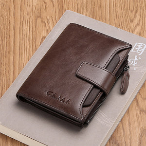 Mens Fashion Genuine Leather Hasp Zipper Short Wallets