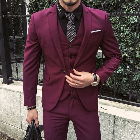 Spring/Autumn Men's Formal Fashion Solid Lapel Sliming and Fits Suits