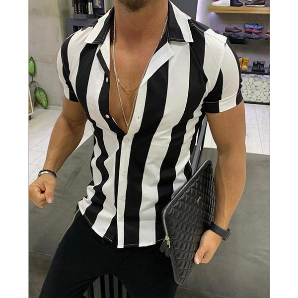 Men's Summer Lapel Striped Shirt