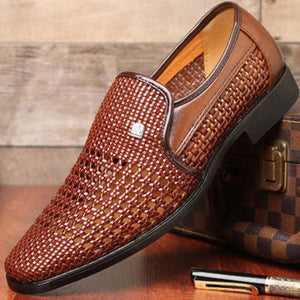 Men Woven Style Hollow Out Breathable Casual Shoes