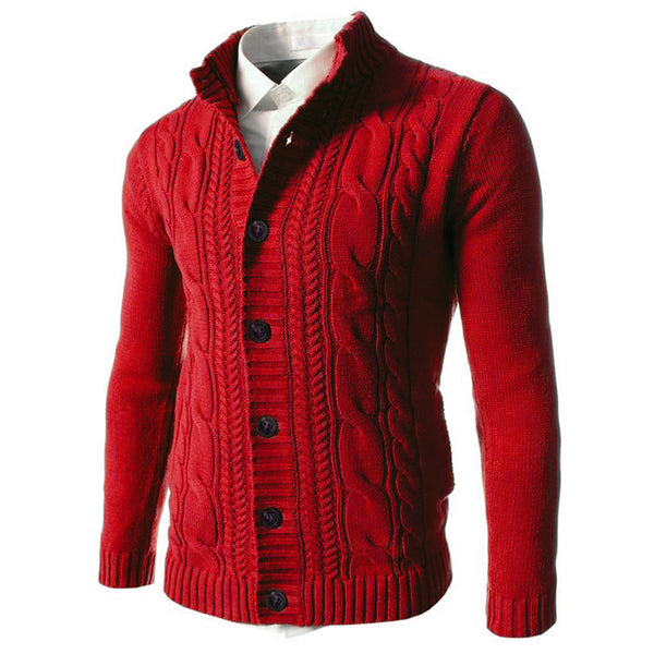 Mens Casual Solid Long-sleeved Kintted Cardigan