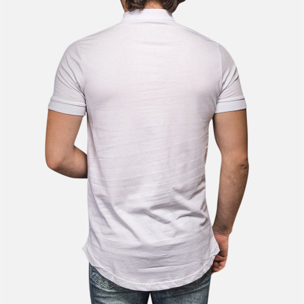 Men's Casual Abstract Printed Turndown Collar Short Sleeve T-shirt