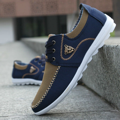 Men Comfortable Canvas Shoes Lace-up Color Block Flats