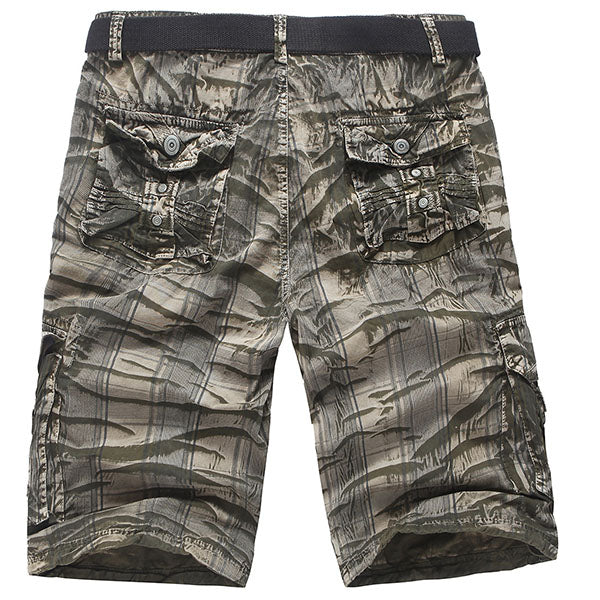 Mens Fashion Camo Short Pants Zipper Cargo Shorts