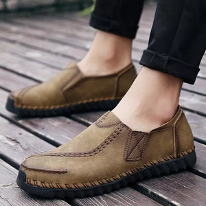 Men Casual Hand Stitching Retro Slip On Loafers Flats