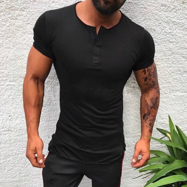 Mens Casual Button Solid Color  Short Sleeve T-Shirts