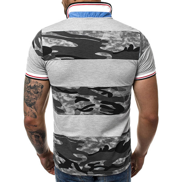 Mens Casual Camouflage Printed Color Block T-Shirts Polo Shirts
