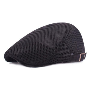 Men's Breathable Lightweight Mesh Beret Cap Adjustable Solid Color Cap