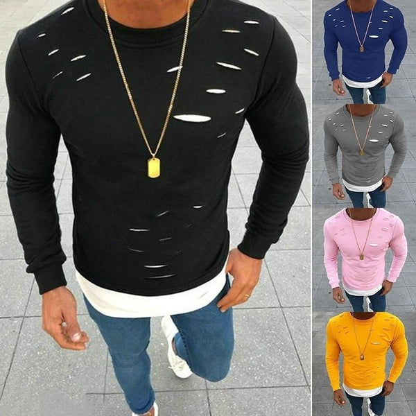 Casual O-neck Fake Two Pieces Slim Long Sleeve Shirt Tops