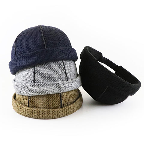 Winter Knitted Warm Rolled Cuff Retro Brimless Hats Bucket Caps